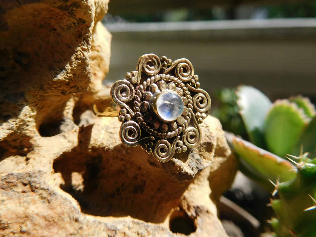 Rainbow Moonstone Spirals Mandala Ring - Avashy
