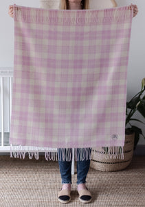 Tartan Baby Blanket - Supersoft Lambswool - Pretty Pink