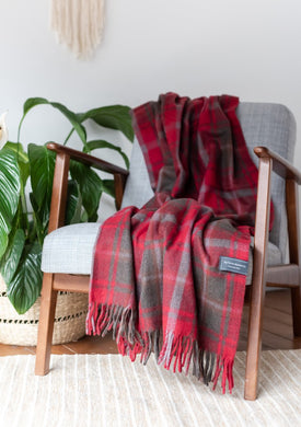 Tartan Traveller Blanket - Recycled Wool - Dark Red Maple