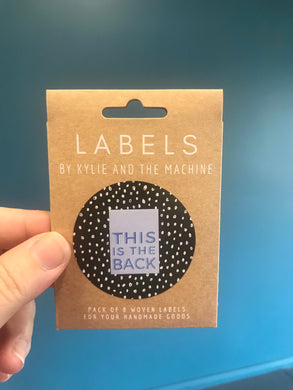'This is the Back' woven label