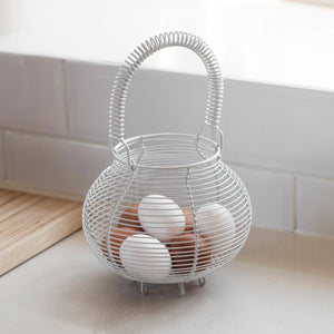 Wire Egg Basket - White