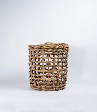 Rattan Laundry Hamper with Lid - Small