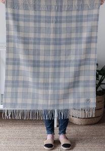 Tartan Baby Blanket - Supersoft Lambswool - Powder Blue