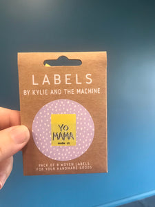 'Yo Mama Made It' woven label