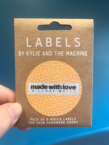'Made with Love & Swear Words' woven label