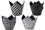 Scrumptious : Tulip Wraps - Black & Silver - Pack of 50