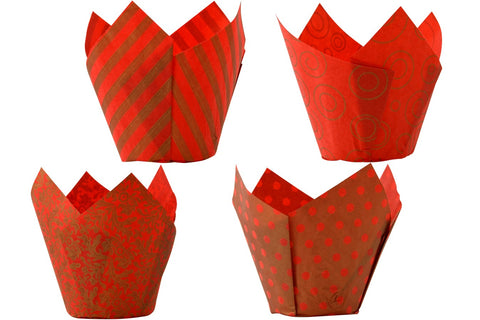 Tulip Wraps - Red & Gold - Pack of 50