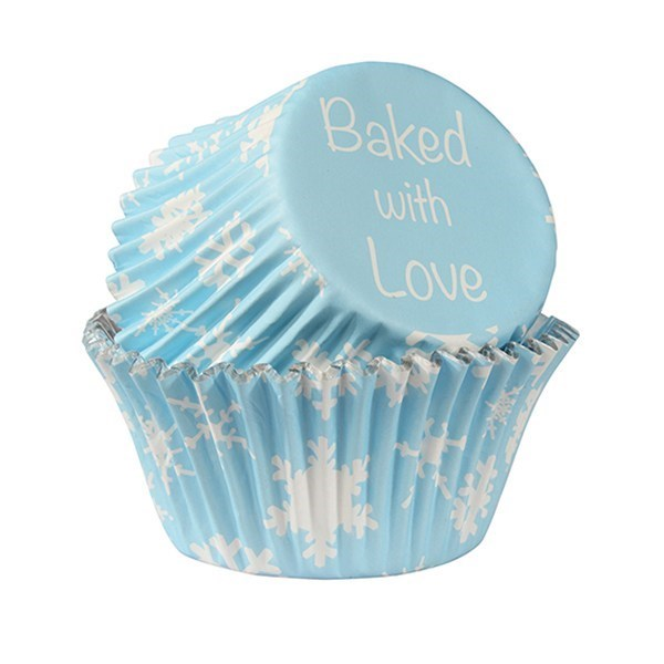 Blue Snowflake Printed Baking Cases