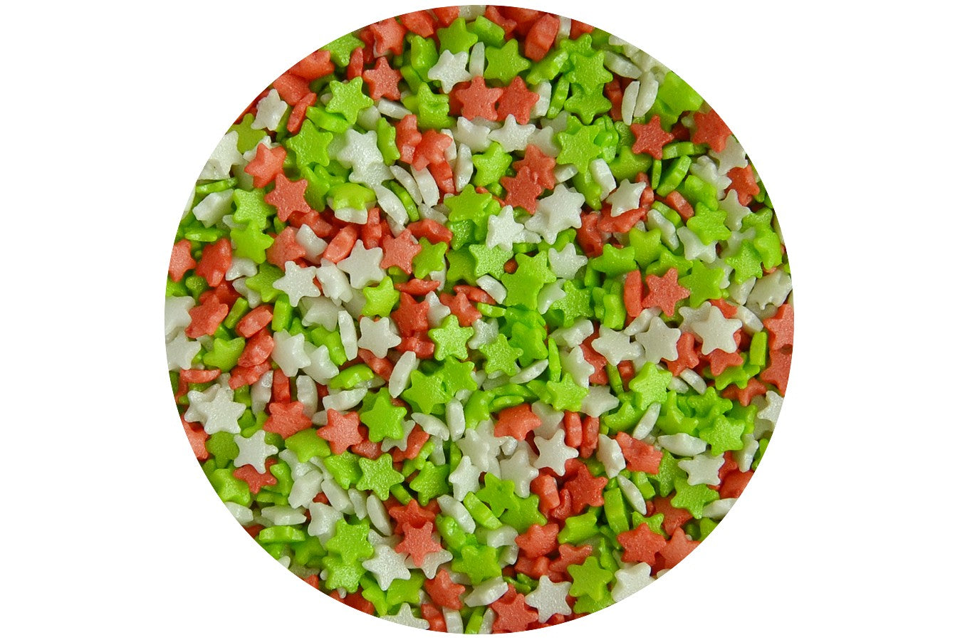 Scrumptious : Sugar Stars - Mini Silver, Red & Green