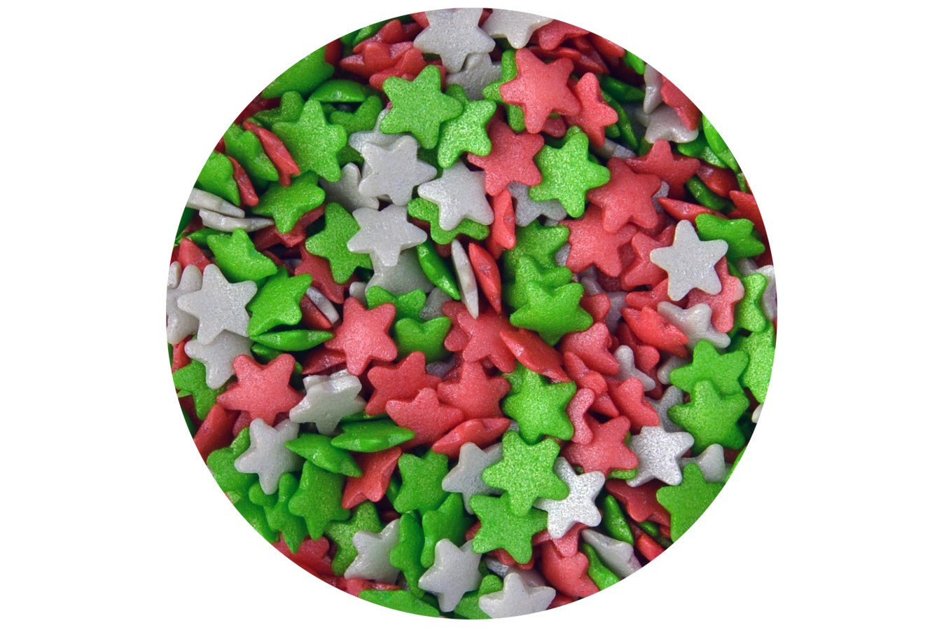 Sugar Strands: Red, Green & White Stars 80g