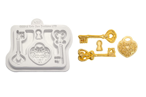 Katy Sue Moulds: Button - Decorative Keys & Locket