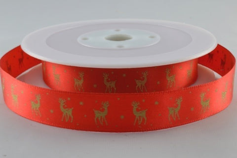 15mm Red\Gold Reindeer Christmas Satin 5M - Bakeworld.ie