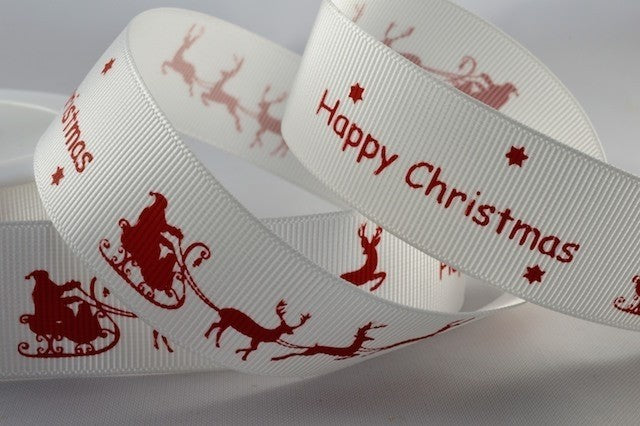 25mm White\Red Sleigh Christmas Grosgrain 5M - Bakeworld.ie