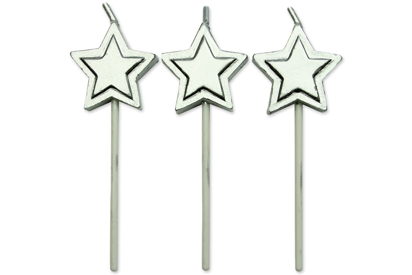 Silver Star Candles 8pk
