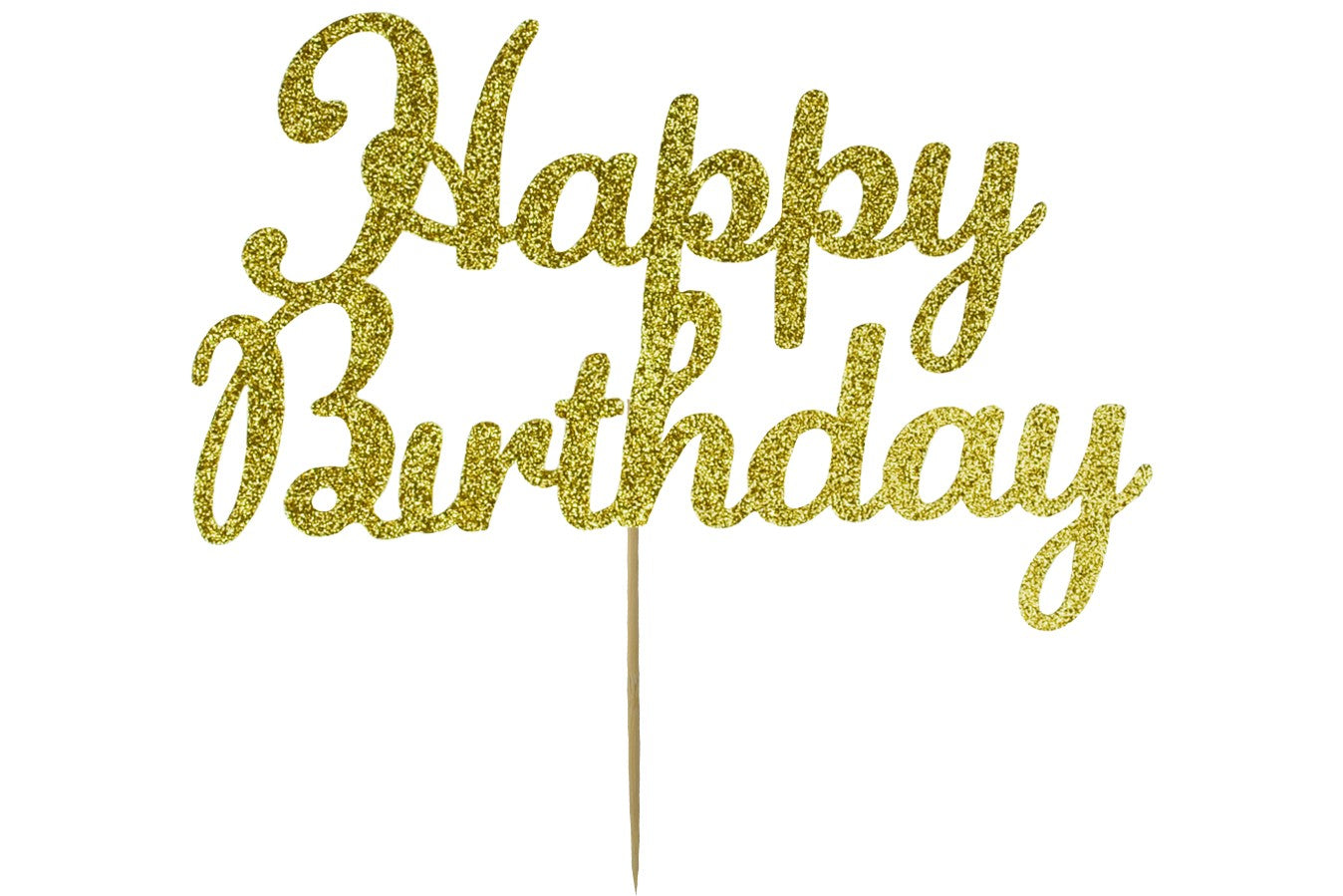 Cake Topper - Happy Birthday - Gold