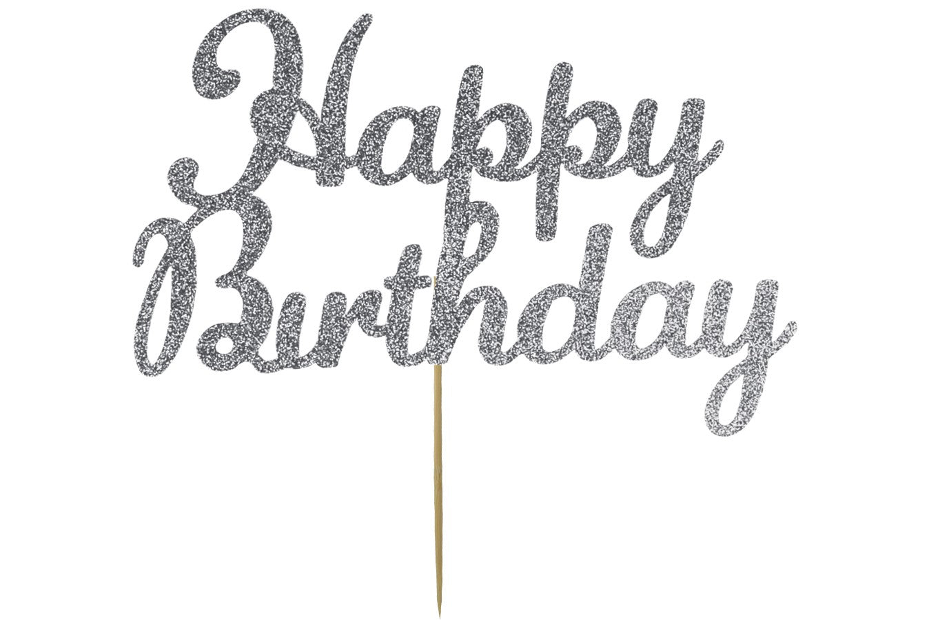Cake Topper - Happy Birthday - Silver