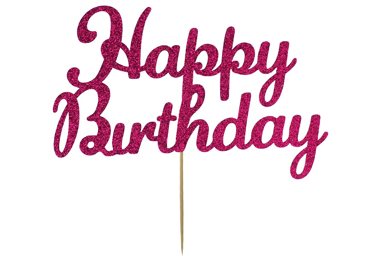 Cake Topper - Happy Birthday - Deep Pink
