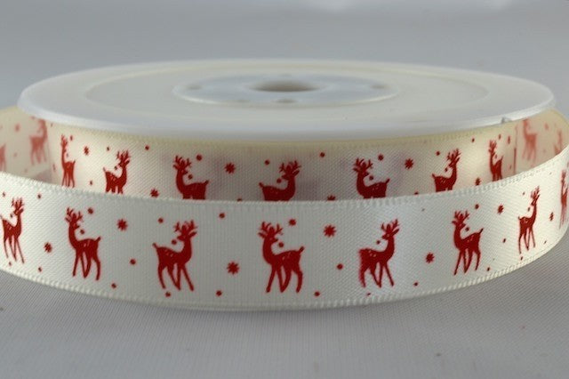 15mm White\Red Reindeer Christmas Satin 5M - Bakeworld.ie