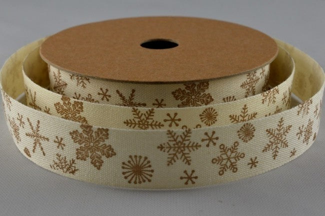 15mm Cream\Gold Snowflake Christmas Grosgrain 5M - Bakeworld.ie