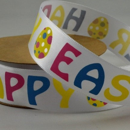 25mm Happy Easter Ribbon x 10 Mtr