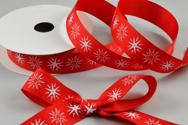 22mm Red\White Star Christmas Grosgrain 5M - Bakeworld.ie