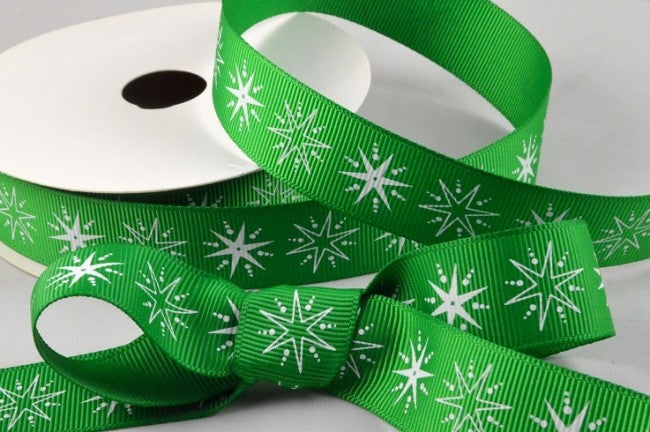 22mm Green\White Star Christmas Grosgrain 5M - Bakeworld.ie