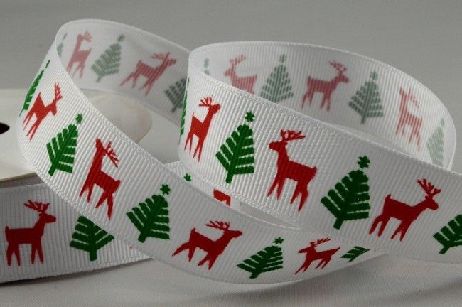 22mm White Deer\Tree Christmas Grosgrain 5M - Bakeworld.ie