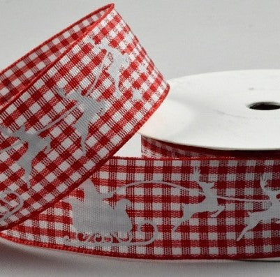 25mm Santa & Reindeers Red Gingham 10Mtr
