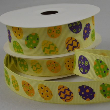 15mm Yellow Grosgrain Easter egg Ribbon x 10 Mtr
