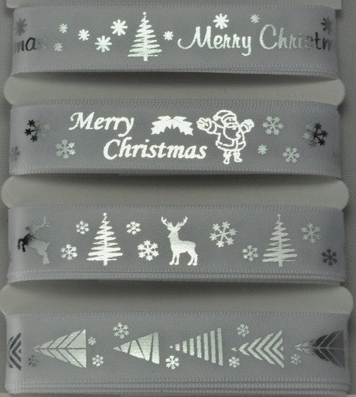 15mm Assortment White Merry Christmas Ribbon 4 x 2 Mtr