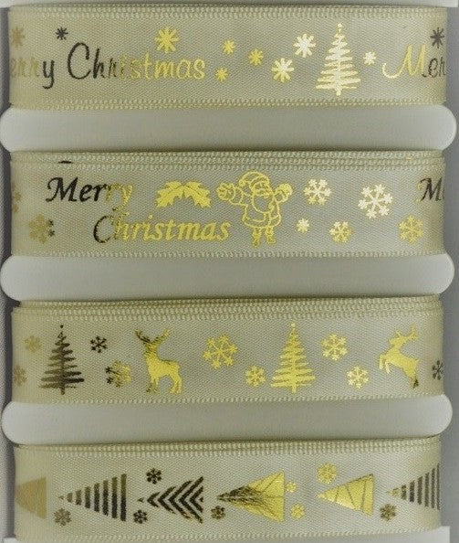 15mm Assortment Ivory Merry Christmas Ribbon 4 x 2 Mtr