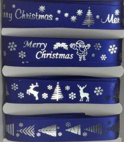 15mm Assortment Blue Merry Christmas Ribbon 4 x 2 Mtr