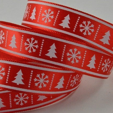 15mm Red White Tree Snowflake 10 Metre