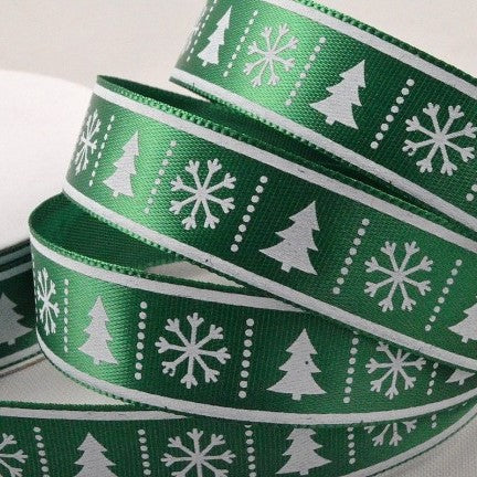 15mm Green White Tree Snowflake 10 Metre