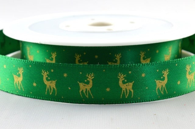 15mm Green\Gold Reindeer Christmas Satin 5M - Bakeworld.ie