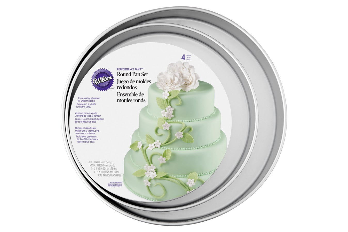 "Wilton : 4 Piece 3"" Deep Tin Set - 8"",10"",12"",14"""