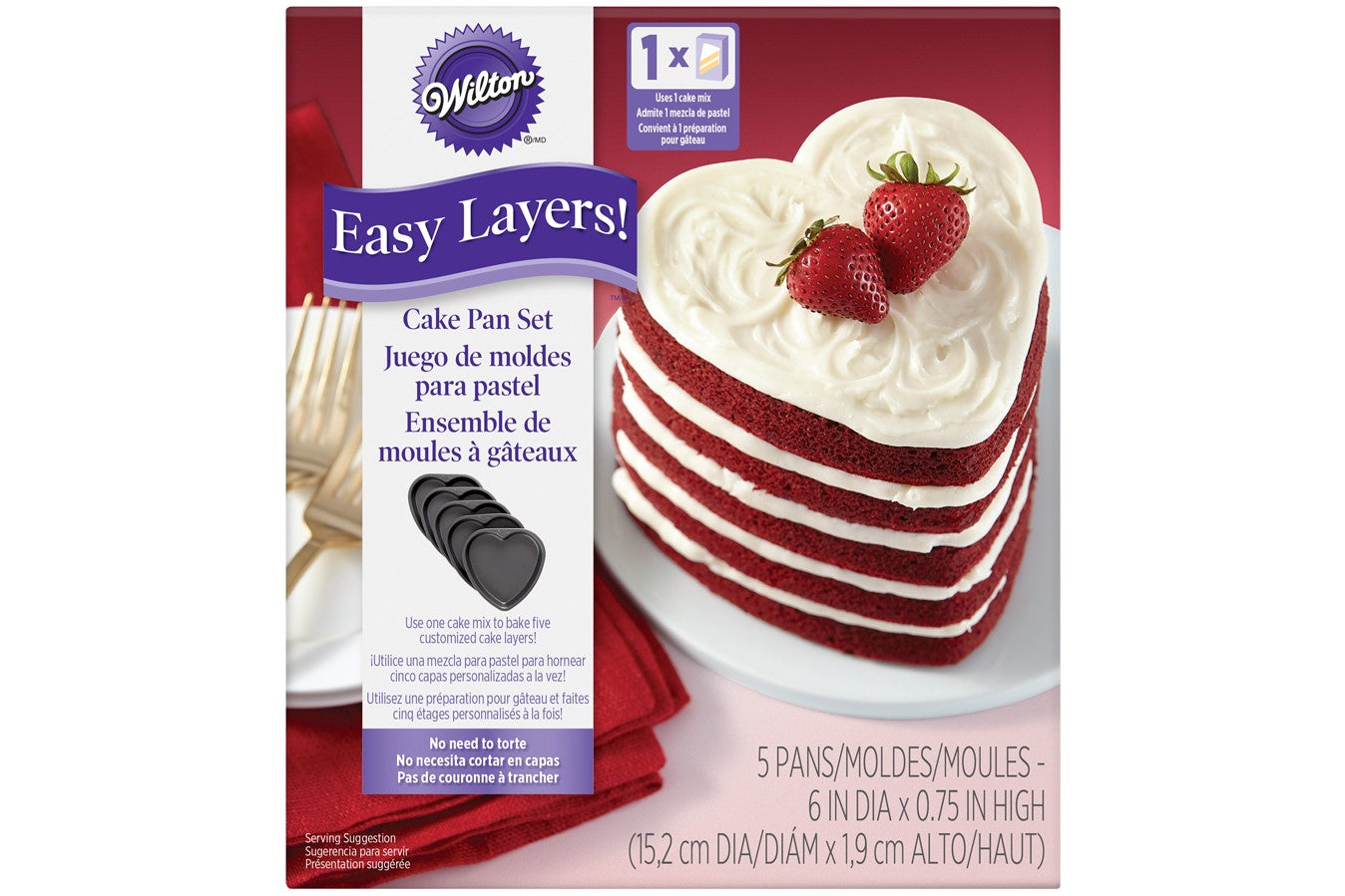 "Wilton : 5 Piece Easy Layers! 6"" Heart Cake Tin Set"