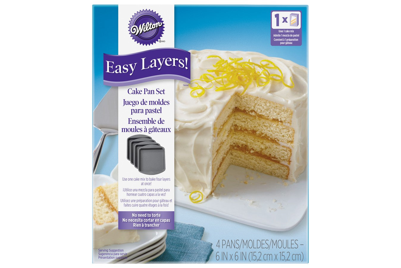 "Wilton : 4 Piece Easy Layers! 6"" Square Cake Tin Set"