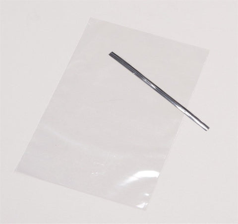 Clear Cake Pop Bag with Silver Tie 50 pk 120 mm x 200 mm - Bakeworld.ie