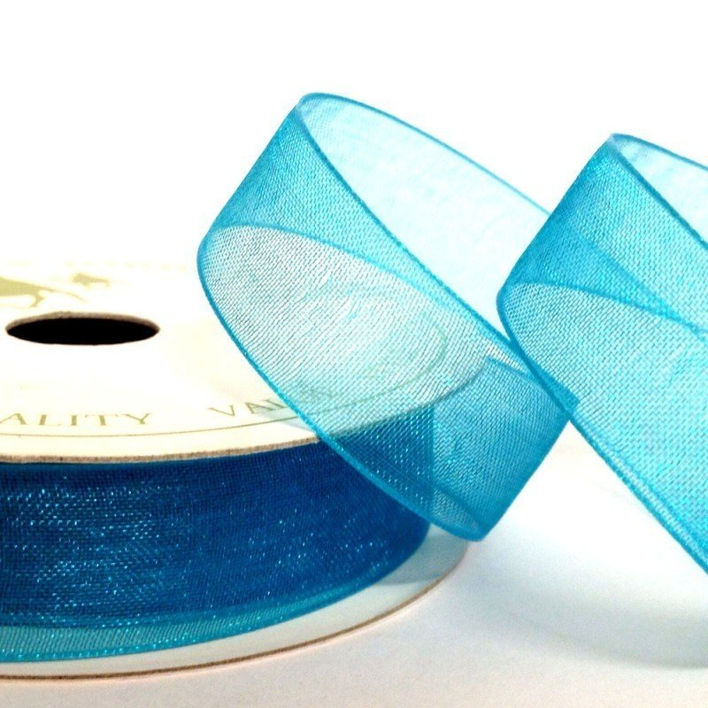 15mm Organza Turquoise 10 Metre roll - Bakeworld.ie