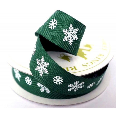 15mm Green White Snowflake Twill Ribbon 4 Metre - Bakeworld.ie