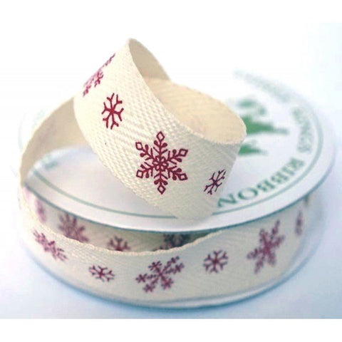 15mm Ivory Snowflake Twill Ribbon 4 Metre - Bakeworld.ie