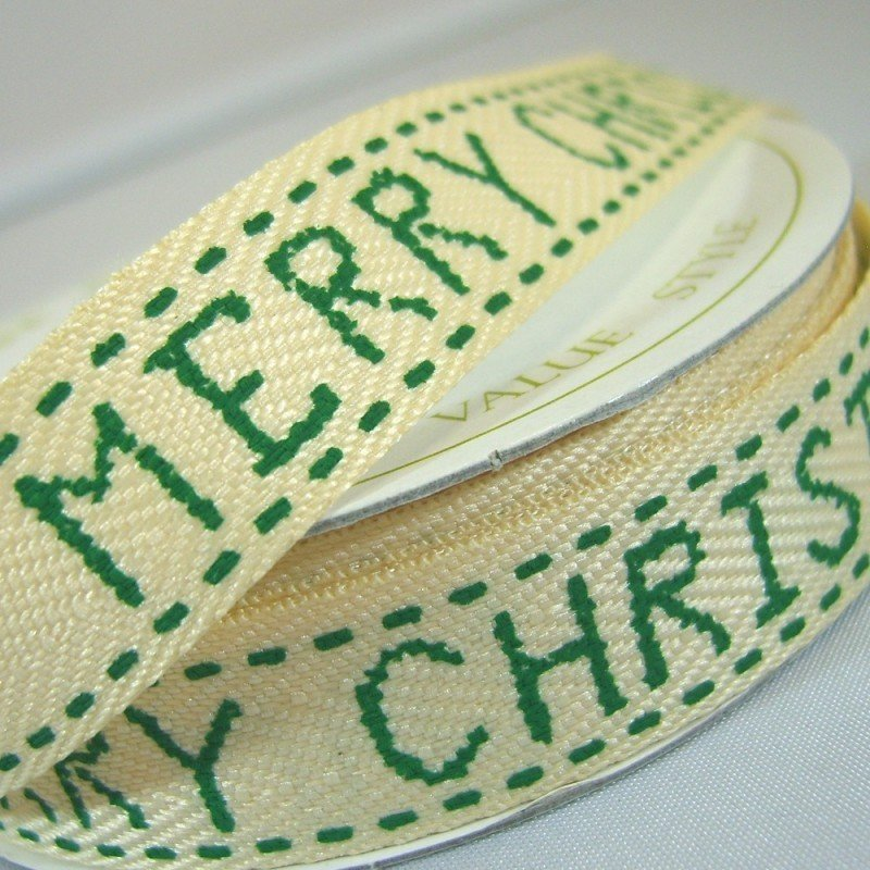 15mm Merry Christmas Green Twill Ribbon 4 Metre - Bakeworld.ie