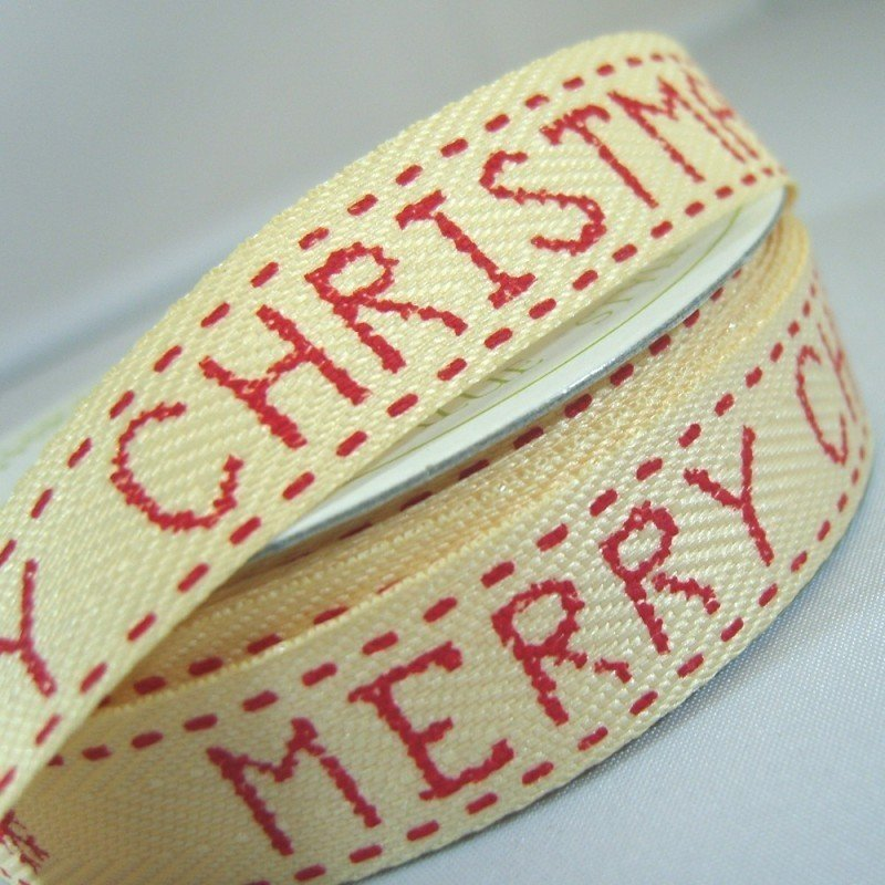 15mm Merry Christmas Red Twill Ribbon 4 Metre - Bakeworld.ie