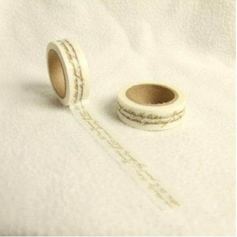 15mm Washi Itallic Script 10 Metre roll - Bakeworld.ie