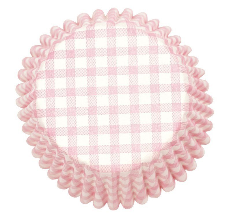 Pink Gingham Printed Baking Cases 54pk