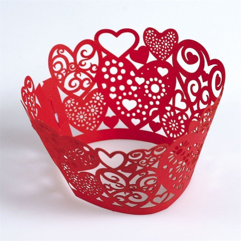 Red lace heart Cupcake Wraps 12pk