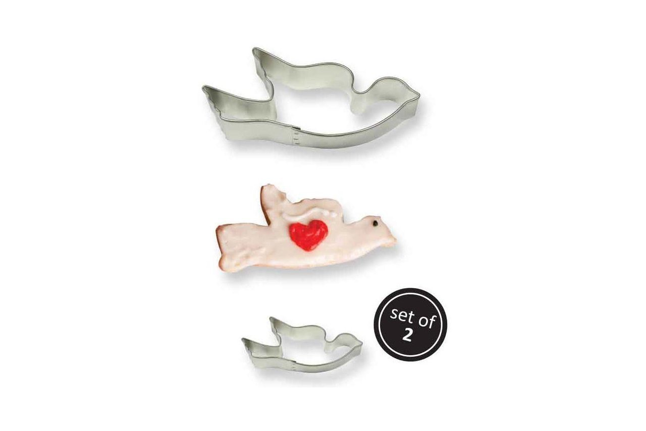 Stainless Steel Cookie & Cake Cutter: Dove Set of 2