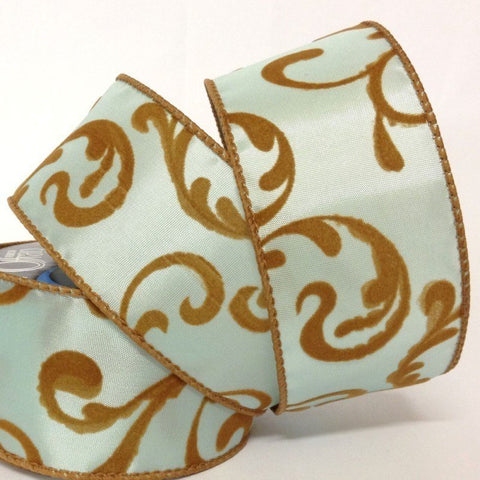 51 mm French Damask Blue-Brown Wired Edge 2.7 Metre - Bakeworld.ie