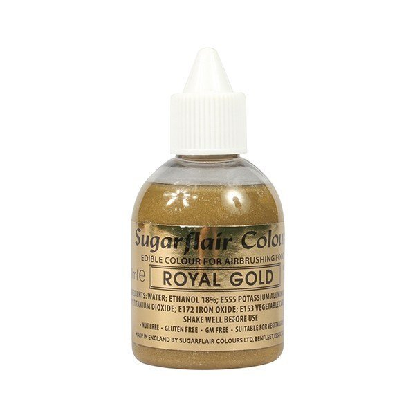 Sugarflair Airbrush Colour - Royal Gold Glitter 60ml